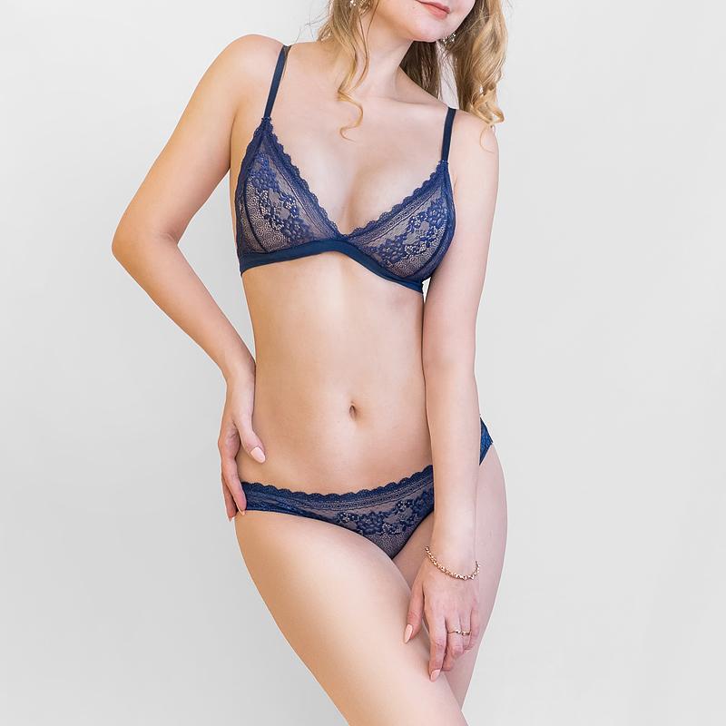 d0874e25d64d1 Hollow Bra and Panty Set - Wire free lace underwear lingerie ...