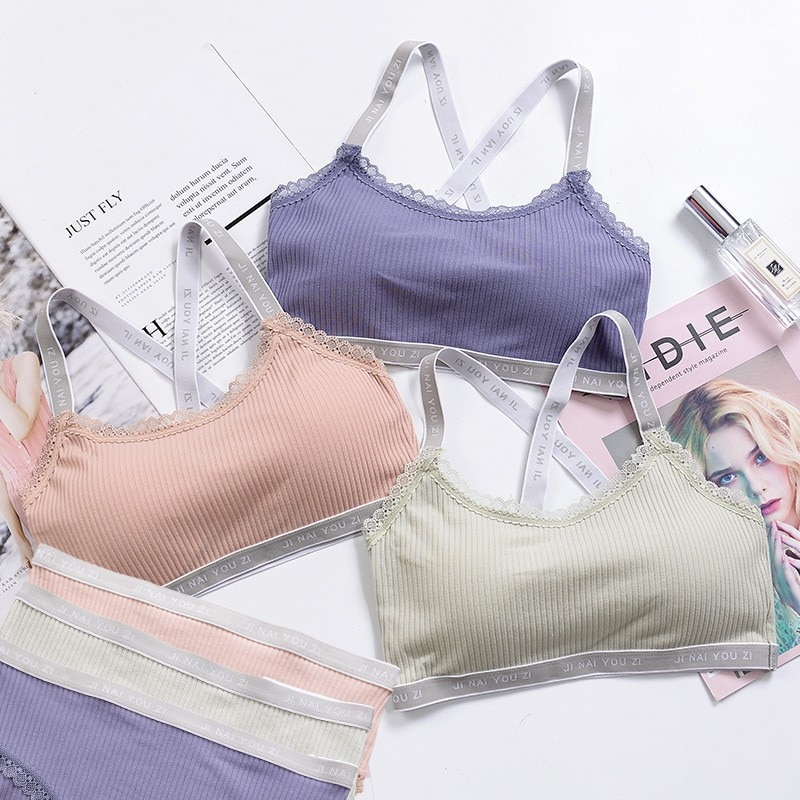 0187cdf0566 Japanese Lingerie Set - Cotton Thin Screw Push Up Bra and Panty ...